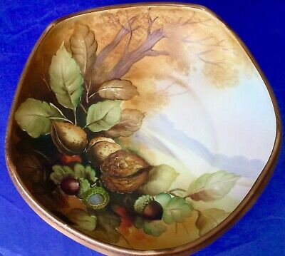 Nippon Morimura Bros. Antique Hand Painted Acorns & Nuts Footed Bowl Meiji