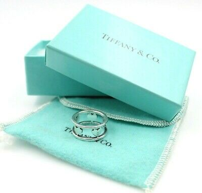 Stunning Tiffany & Co. Sterling Silver 5 Heart Stencil Ring Size 5.5 #5441-10