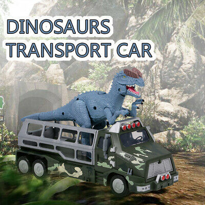 Dinosaurs Transport Car Carrier Truck Toy Triceratops Pull Gift For Kids D0K1
