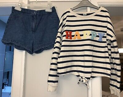 Marks & Spencer Scalloped Denim Shorts Tu Happy Rainbow Jumper Age 6-7 7 Outfit