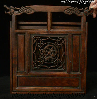 Collect Antique Old China Dynasty Huali Wood Dragon Beast Folding Screen Statue