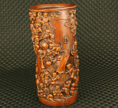 chinese rare big old boxwood hand carved many kids statue brush pot decoration