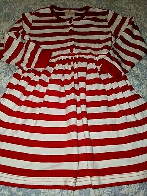 Hanna Andersson Girls Sz. 120 red & white Striped Playdress. Cute, nt. Flaw