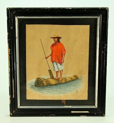 ~Antique 19th C Watercolor Native on Reed Raft Canoe South American School Sgnd