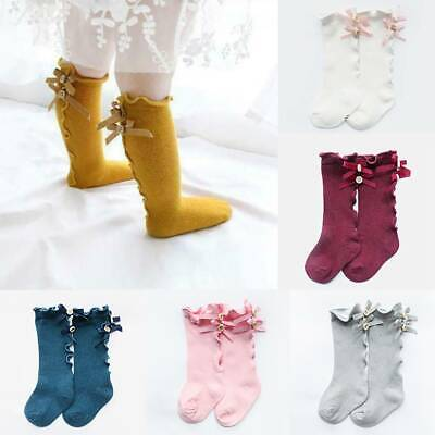 Baby Girls Sock Knee High Bows Cotton Kid Princess Toddler Leg Warmer Socks New