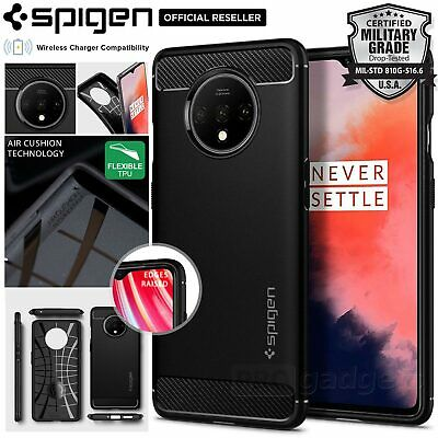 OnePlus 7T Case, Genuine Spigen Rugged Armor Resilient Ultra Soft Cover