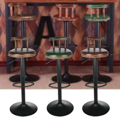 Industrial Retro Urban Bar Stool Chair Leather Top Vintage Cafe Counter Seat