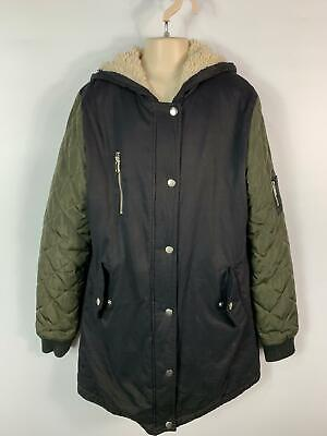 Girls New Look Black&Khaki Parka Parker Winter Coat Hood Jacket Kid Age 12/13 Y