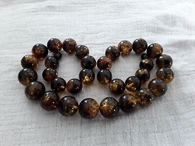 Bernsteinkette Baltic Amber Necklace Grün-Green Beads Balls