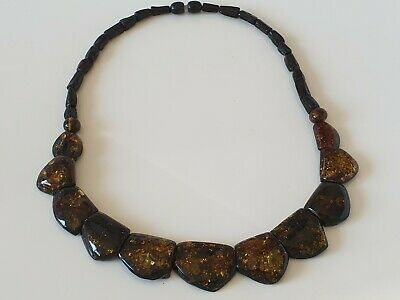 Bernsteinkette Collier Baltic Amber Necklace Grün-Green