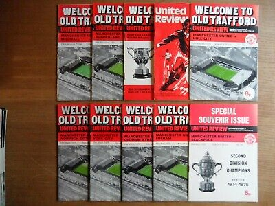 MANCHESTER UNITED FC home football programmes 1974-1975 League & Cup