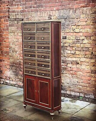 Antique French Mahogany & Brass Decorated Folio / Document Cabinet
