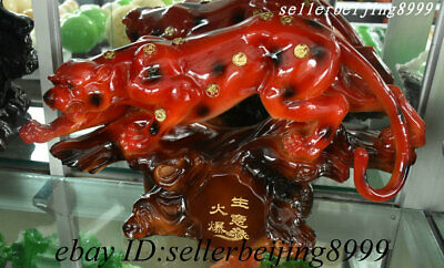 Chinese Wood Feng shui Wealth Animal Leopard Cheetah Business is booming Statue