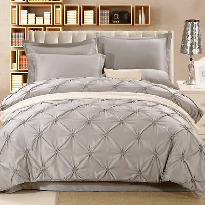 Light Grey Pintuck Duvet Cover Set Single Pinch Pleat Bedding Quilt Cover with *