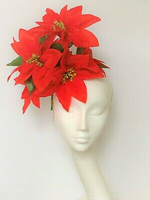 Red Christmas Fascinator New Year party Hat Poinsettia Hatinator Headpiece hair