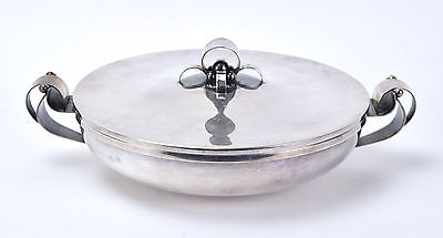 Vintage Danish Modern Silverplate Covered Dish w Geometric Handles and Lid