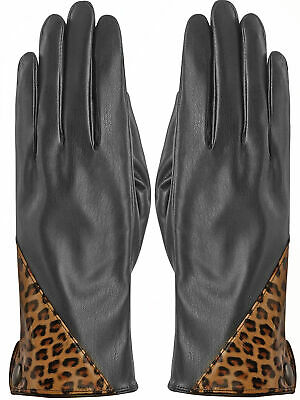 Black Vegan Leather Gloves With Leopard Print Accent