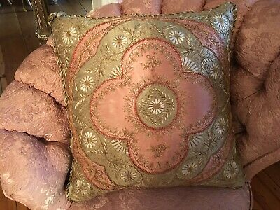 Gorgeous Antique Victorian Floral Embroidered silk pillow Pinks & Green
