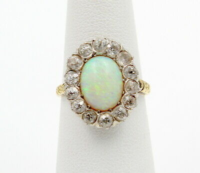 Antique 14K Solid Gold Oval Opal & Cz Cluster Ring Size 5.5 - No Reserve #7129-8