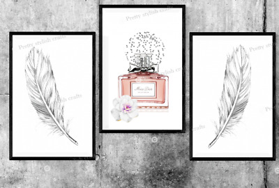 Set of 3 Dior Perfume Feather Grey Prints Bedroom Print Poster Art Wall Pictures