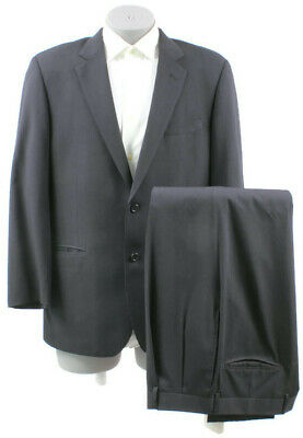 """Jos. A Bank Men's Black Striped Wool Two Button Suit 42R Pleated Front 35"""" Waist"""