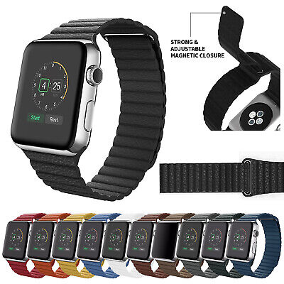 For Apple Watch Series 5 4 3 2 1 Leather Loop Magnetic Band Strap 38/42/40/44mm