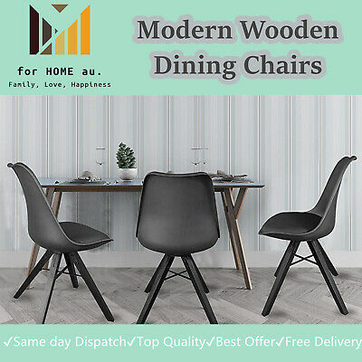 Modern Wooden Dining Chairs Set of 2 Upholstered Side Chairs -Kitchen Living.Blk