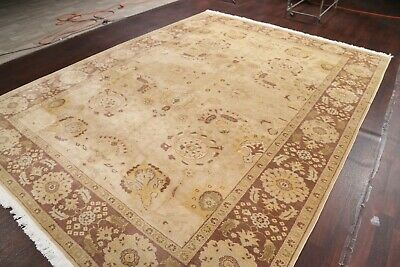 Vegetable Dye Muted Beige Brown All-Over Oushak Egyptian Stark Area Rug 9'x12'