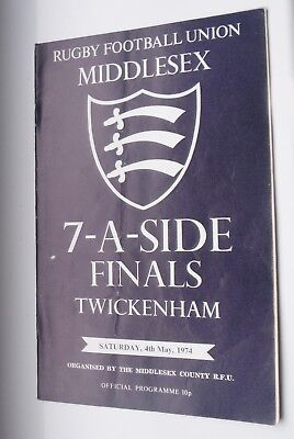 Middlesex Sevens-May 4Th 1974-Twickenham-Rugby Union Programme ^