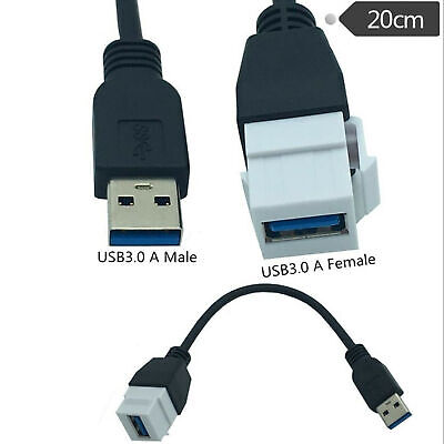 USB 3.0 A Female to Male Panel Mount Insert Adapter for Wall Socket