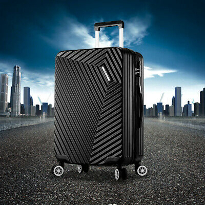 "NEW ABS Hard Shell Cabin Suitcase Case 4 Wheels Luggage Lightweight 28"" Black"