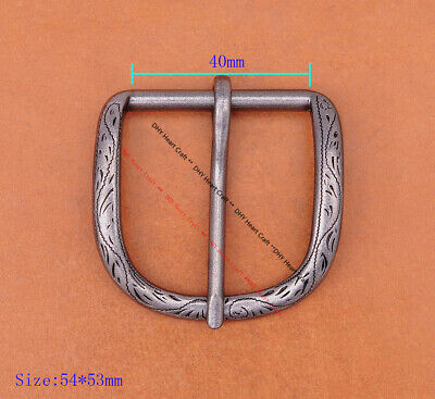 Retro Pattern Carved Single Prong Pin Buckle for Men Leather Belt  Inner 40 mm