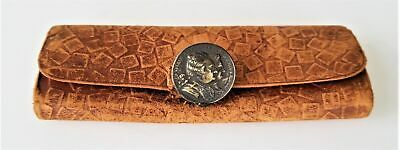 1878 antique victorian LEATHER WALLET PURSE BILLFOLD ornate metal CLASP