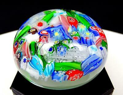 "Murano Art Glass Scattered Multicolored Millefiori Cane 2 1/4"" Paperweight"