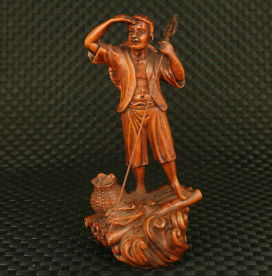 unique chinese old boxwood hand carved old fisherman statue figure collectable