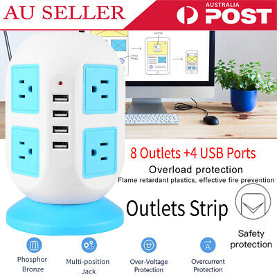 Multi-socket Power Strip with Surge Protector 8 Outlets 4 USB Ports Powerboard
