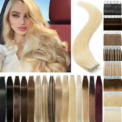 150G 60PCS Tape Glue In Real Remy Human Hair Extensions Blonde Mix Color Long AU