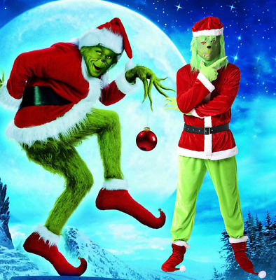The Grinch Cosplay Costume Adult Christmas Santa Fancy Dress Men Xmas Outfits UK