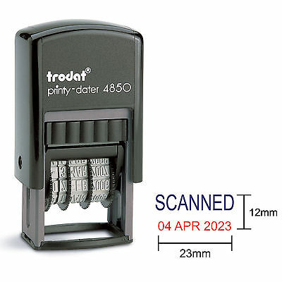 Trodat 4850 Dater Stamp Compact Wording Scanned in Blue Date in Red