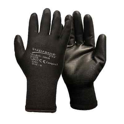 Pairs Builders Safety Work Gloves Nylon Pu Grip Constructions Mechanic