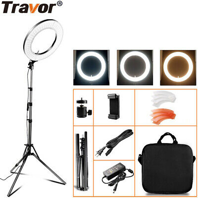 Studio LED 45W 14 INCH Photo Video Ring Light + Camera iPhone Holder +2M Stand