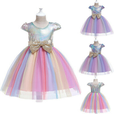 Toddler Kid Baby Girl Sequin Rainbow Pageant Gown Party Wedding Prom Tulle Dress