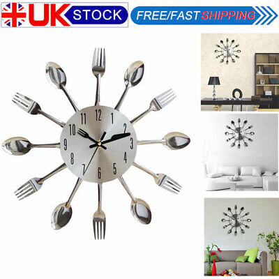 3D Removable Creative Modern Cutlery Spoon Fork Wall Clock Home Wall Decoration
