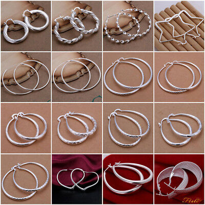 Solid 925 Sterling Silver Plated Round Hoop Drop Dangle Sleepers Earrings Gift