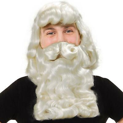 Deluxe Santa Fancy Dress Costume White Wizard Wig and Beard Christmas Xmas
