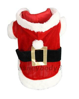 Red Pet Dog Puppy Hoodie Sweater Xmas Warm Clothes Christmas Costume Outfits