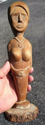 Female Wooden Carved Nude Woman Ethnic Tribal Wood Carving Statue Lady Art