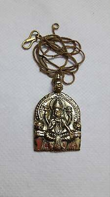 Handmade Solid Yellow Brass Hindu Deity Goddess Laxmi Mata Pendant With Chain