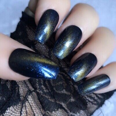 Hand Painted False Nails Cat Eye Blue Yellow Gel Short Coffin Press On Nails