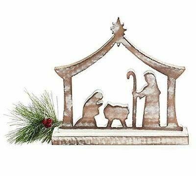 Burton and Burton 9733655 Whitewashed Wood Nativity with Arch, Multicolor